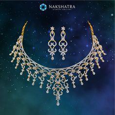 This Nakshatra diamond necklace  and earring  set is like the sparkling symmetry of the stars. Divine Splendour for the bride!  #Nakshatra #diamond #diamondjewelry #divinesplendour #bride #weddingjewelry #weddings #necklace #earrings