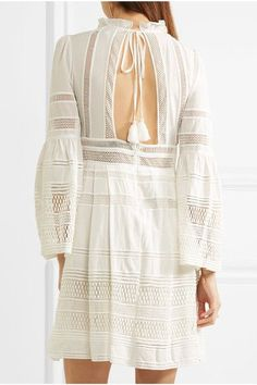 SEA - Open-back Crochet-paneled Cotton Mini Dress - White - US10