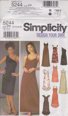 Simplicity 5244 Sewing Pattern  Semi-fitted by n2Imaginations (Craft Supplies & Tools, Patterns & Tutorials, empire, waist, formal, prom, wedding, sleeveless, straps, spaghetti, darts, evening, ruffles, variations, princess)