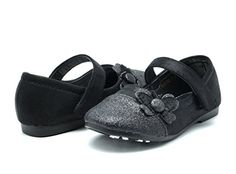 Dream Pairs CRYSTAL-1 Mary Jane Velcro Butterfly Glitter Ballerina Flat (Toddler/ Little Girl) New Black Size 6 - http://all-shoes-online.com/dream-pairs/6-m-us-toddler-dream-pairs-angel-5-adorable-mary-bow-3