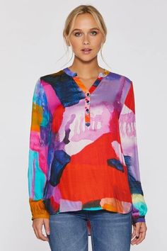 I Know You Know Whimsical Blouse by Claire Desjardins. #clairedesjardins #clairedesjardinsart #ClaireDesjardinsApparel #DesignerJacket #JeanJacket #cami #WomensApparel #WearableArt #designerclothing #apparel #designerapparel #artandfashion #fashionandclothing #artonclothing #abstractart #abstractpainting #designerclothes #womensapparel #Tunic #Dress #Jacket #MotoJacket #WomensTop #Scarf #Dress #Blouse