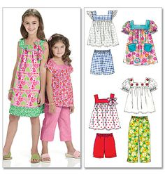 McCall's M6022 Children's/Girls' Tops, Dresses, Shorts And Pants