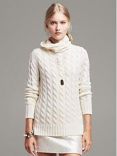 Cable-Knit Cowl Pullover | in ivory, size medium, perfect for an oversized tunic feel for work or weekend