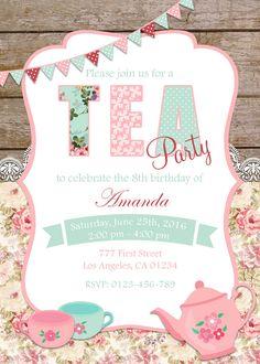 Tea Party Invitation Birthday Tea Party Shabby Chic