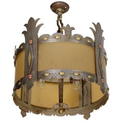 Bronze, Copper and Amber Glass Light Fixture from the Williamsburg Savings Bank 1
