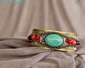 Bracelet Manchette, pierres semi-précieuses et métal bronze : Bracelet par cabochon-chic