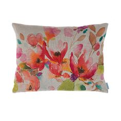 Grande Arisaig cushion by bluebellgray - Scottish watercolour textile design by Fi Douglas. Pretty florals in a warm palette of rosy reds, oranges and neutrals on a warm natural linen ground. £80