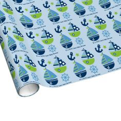 Nautical Sailboat Personalized Wrapping Paper