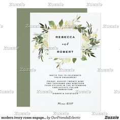 modern ivory roses engagement party invitation #engagementparty #editableinvitation #engagementannouncement #engagementinvitation #bohofloral