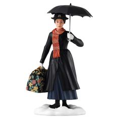 Enchanting Disney Mary Poppins the magical nanny who uses her magical powers to help the Bank family. This Practically Perfect Figurine captures the elegant Mary with her bottomless carpet bag and iconic parrot-head umbrella. Mary Poppins, Boutique Disney, Boutique Harry Potter, Banks, Collection Harry Potter, Le Grinch, Figurine Disney, Dc Comics, Musicals