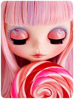 Pink blythe with Hello Kitty eyelids  #blythe #doll #hellokitty #pink #candy #sweet #cute