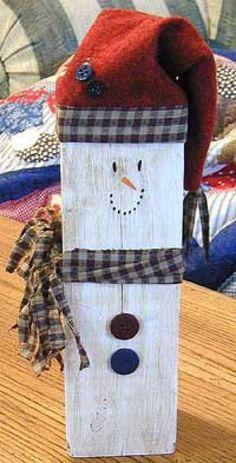 7 of 20 – Holiday DIY's – Wooden Snowmen