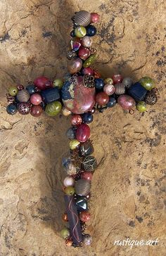 """Canyon"" 8"" Beaded Wire Wall Cross features gemstone, metal, glass and wood beads."
