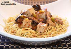 Noodles con tofu y setas