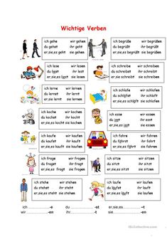 Important verbs - Kostenlos Study German, Learn German, Learn French, Foreign Language Teaching, German Language Learning, Dual Language, German Grammar, German Words, German Resources