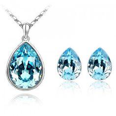 Austrian Crystal from Swarovski Charm Jewelry Sets Water Drop Necklace Pendants Stud Earrings For Women  4317