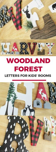 Lumberjack Moose Bear Deer Plaid Woodland Forest Whimsical Wooden Nursery Letters | Unique and Chic Creations custom kids room letters | painted wooden letters | kids room decor | cute kids' home decor