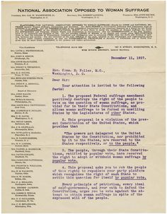 In 1917, Alice Wadsworth, President of the National Association Opposed to Woman Suffrage, sent this petition to Congress arguing against a constitutional amendment that would grant women the right to vote. Learn more