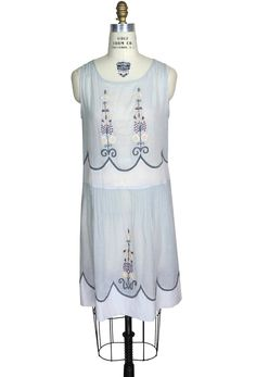 1920s Style Dresses The Coco Embroidered 1920s 100% Cotton Gauze Dress - Blue $69.95 AT vintagedancer.com