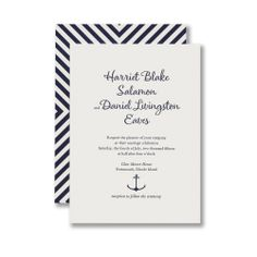 Letterpress Invitation with Chevron Backing and Anchor Motif, printed on Lettra paper in twilight ink.