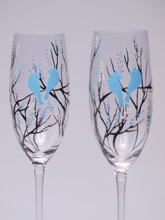 Hand painted wedding glasses personalized flutes by pastinshs, $49.00