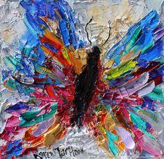 Original oil painting Butterfly 6x6 palette knife impressionism on canvas fine art by Karen Tarlton
