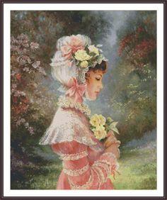 Victorian Cross Stitch #cross #stitch #pattern #needlepoint #embroidery #needlecraft #handcraft #hobby #diy #etsy #flower #girl #gift