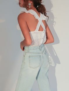 Broderie Anglaise Frill Trim Sleeveless Top - USD$47