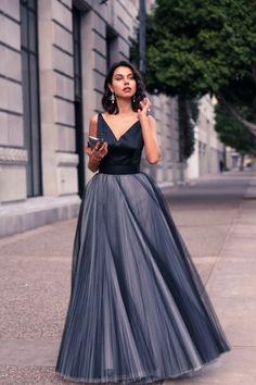 robe de soirée longue en noir et gris