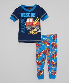 Blue & Navy 'Rescue Squad' Pajama Set - Infant by 1000% Cute #zulily #zulilyfinds