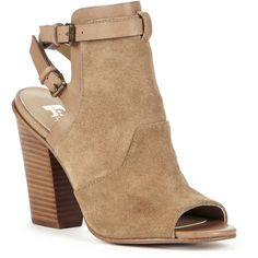 Joes Jeans Ghost Sling Back Ankle Bootie ($145) ❤ liked on Polyvore featuring shoes, boots, ankle booties, tobacco, leather open toe booties, leather ankle booties, short boots, ankle boots and leather bootie