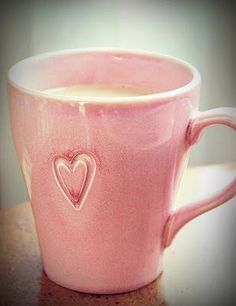 pink mug of something warm :)