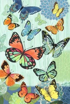 Butterfly Flight Vert-bright by Jennifer Brinley | Ruth Levison Design