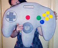 Giant N64 Controller Pillow http://www.thisiswhyimbroke.com/giant-n64-controller-pillow