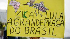 Manifestante segura cartaz sobre Luiz Inácio Lula de Silva e zika durante protesto no Rio de Janeiro, em 13 de março de 2016http://exame.abril.com.br//brasil/noticias/as-imagens-dos-protestos-contra-dilma-deste-domingo/lista