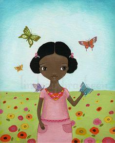 Butterfly Flowers African American Girl Wall Art by lindsayart, $18.00