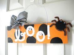 Halloween sign Boo Polka Dot Spider