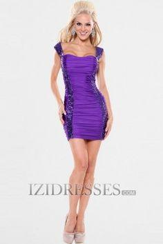 Sheath/Column Straps Elastic Woven Satin Sequined Party Dresses