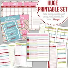 HUGE Printable Set - more than 61 pages, including a monthly calendar, weekly layout, daily docket, goal-setting pages, menu planners, kitchen inventories, bill tracker, cleaning checklists and more!!