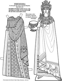 Theodora: Great Women Paper Dolls Coloring Book, from Bellerophon Colouring Pages, Coloring Books, Adult Coloring, Royal Paper, Paper People, Paper Crafts Origami, Vintage Paper Dolls, Great Women, Colored Paper