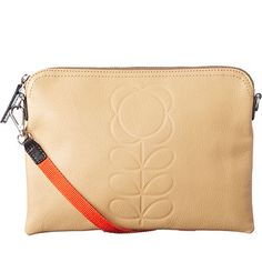 Orla Kiely   UK   accessories   Wallets & Pouches   Embossed Flower Leather Travel Pouch (16SEEFS136)   sand