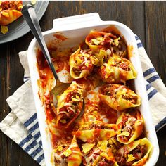 Taco Stuffed Pasta Shells Recipe -Here's a kid-friendly dish so flavorful and…