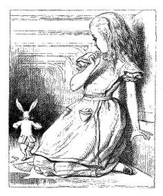 Digital Stamp Design: Free Alice in Wonderland Digital Stamp: Big Alice in House with White Rabbit