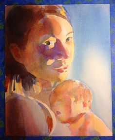 mother and newborn baby watercolor portrait in progress