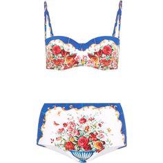 Dolce & Gabbana Printed bandeau bikini (4 830 SEK) ❤ liked on Polyvore featuring swimwear, bikinis, bikini, and, bandeau, dolce, underwire bikini, high-waisted swimwear, high-waisted bikinis and flower bikini
