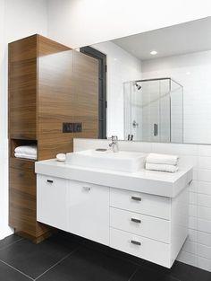 Excite Your Visitors with These 14 Adorable Half-Bathroom Styles Bathroom Renos, Basement Bathroom, Bathroom Furniture, Small Bathroom, Master Bathroom, Melamine Cabinets, Bathroom Vanity Designs, Dream Bathrooms, Bathroom Styling