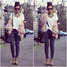 obsessed, high bun, oversized wayfarers, platform pumps, skinny pants are all made cool by the plain t shirt and the fur coat