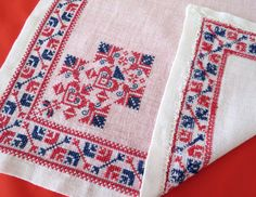 VINTAGE Ethnic Tablecloth Cross Stitch by MARiSOLVintageHome