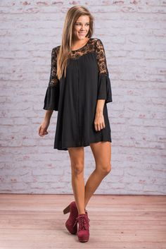 """True Intentions Dress, Black"" This black dress is stunning! All that sheer crochet across the top is nothing short of perfection! The bell sleeves are a fab addition to the style of this dress too! #newarrivals #shopthemint"