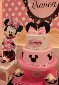 Gorgeous cake at a Minnie Mouse birthday party! See more party ideas at CatchMyParty.com!
